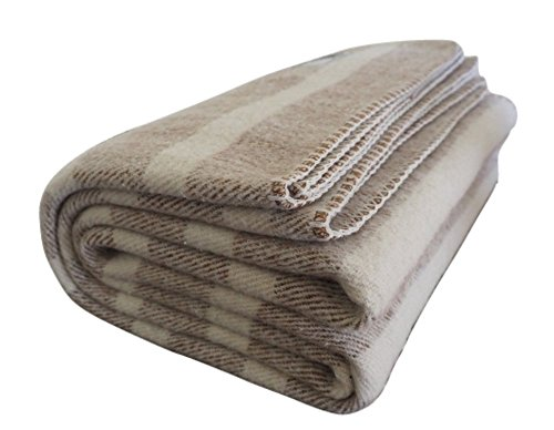 Woolly Mammoth Woolen Company Farmhouse Collection Southern Grown Wool Blanket (Tan/Cream Stripe)