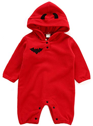 Halloween Pumpkin Devil Costume Baby Boys Girls Cutie Hooded Romper Fancy Outfits Cosplay Party Dress Up Daily Wear Red]()
