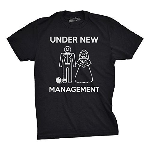 Mens Under New Management Funny Wedding Bachelor Party Novelty Tee For Guys (Black) – XL