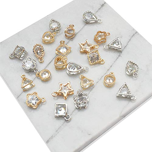 (MyBuddy 20Pcs Cubic Zirconia Alloy Pendants, Crystal Pendants Charms for DIY Necklace Jewelry Making )