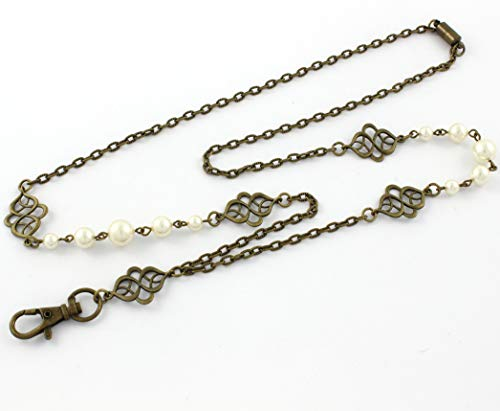 Brenda Elaine Jewelry | Women's Fashion Lanyard Necklace for ID Badge Holders | Never Tarnish | 32 Inch Antique Brass Chain and Celtic Accents with Cream Color Pearls & Rear Magnetic Clasp