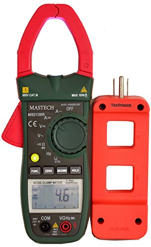 Mastech MS2138R with Tekpower Line Splitter M920, Auto Ranging True RMS AC/DC Voltage and AC/DC Current Clamp Meter With Tekpower Wire Splitter and Super Bright LED Flashlight on the Top MS2138R+M920