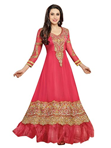Vibes Women's Vibes Georgette Patch Work Semi-stitched Salwar Kameez – Free Size, Pink