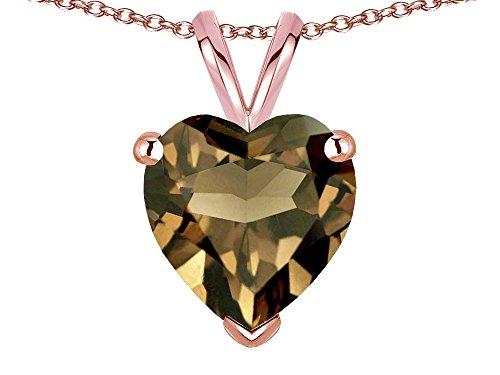 Star K 8mm Heart Genuine Smoky Quartz Pendant Necklace 14 kt Rose Gold
