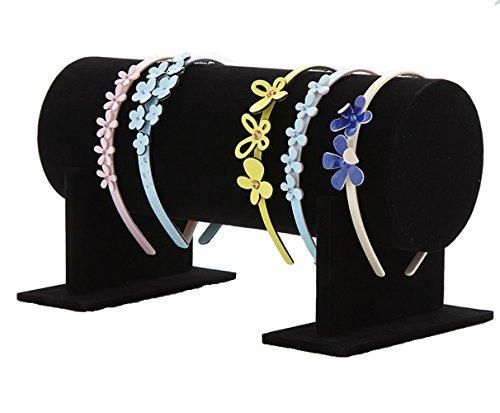 (Glitterymall Black Color Velvet Separate Detachable Jewelry Headband Hair Hoop Hairband Hair Clasp Holder Display Stand Rack Organizer)