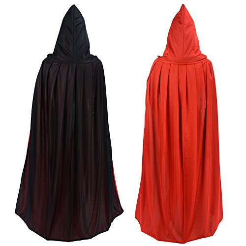 Double Face Red Black Hooded Halloween Easter Christmas Cloak Goth Vampire Priate Cape