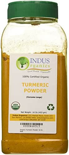 Indus Organics Turmeric (Curcumin) Powder, 1 Lb Jar, Premium Grade, High Purity, Freshly Packed