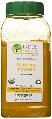 Indus Organics Turmeric (Curcumin) Powder, 1 Lb Jar, Premium Grade, High Purity, Freshly Packed