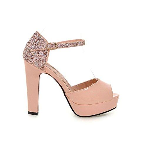 con Paillettes Donna Plateau AIKAKA Alto Scarpe Tacco Sandali Pink da con Estate a e Primavera FWxzCB4q