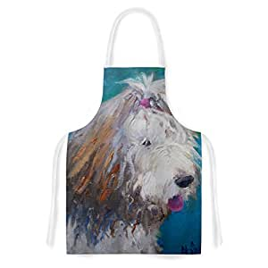 Kess InHouse CS1043AAR01 Carol Schiff Shaggy Dog Story Blue Animals Artistic Apron