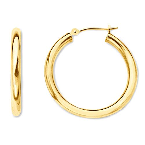 14k REAL Yellow Gold 25MMx2.0MM Thickness Classic Polished Round Tube Hoop Earrings with Snap Post Closure For Women (Gold Earrings Polished Tube)