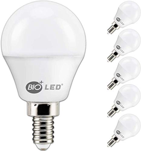 Bioled 6 Pack E12 6W (60Watt Equivalent) Warm White 3000K LED Light Bulbs, Small Base, A15 LED Golf Ball Globe, Ceiling Fan Light Bulbs, Candelabra led Bulbs, G14 Lightbulbs, Chandelier Light Bulbs