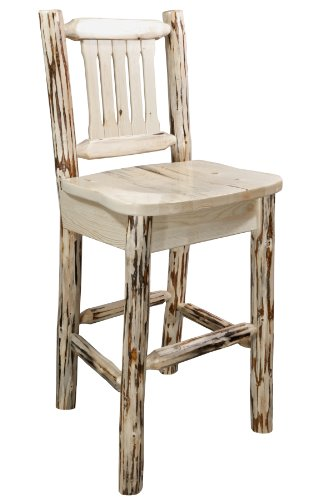 Montana Woodworks Montana Collection Barstool with Back and Ergonomic Wooden Seat, Clear Lacquer Finish