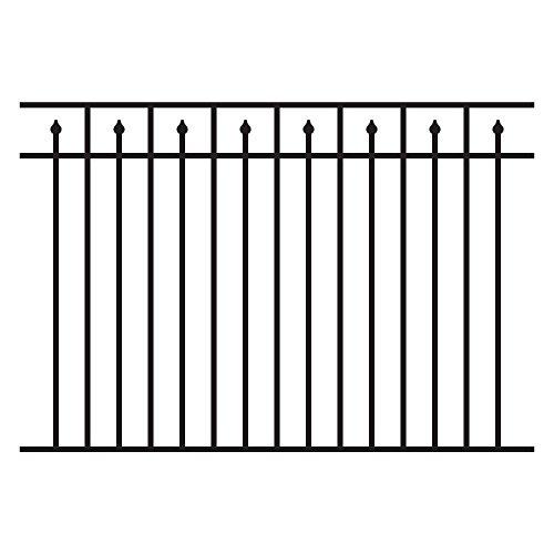 (Allure Aluminum 4.5 ft. H x 6 ft. W Aluminum Black Unassembled Provincial Style 3-Rail Fence Section (4-Pack))