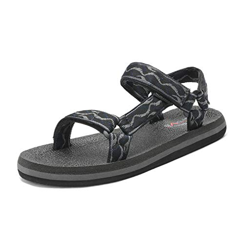NORTIV 8 Men's 181114M Black Navy Grey Outdoor Walking Sandals Summer Beach Sandal Size 10 M US