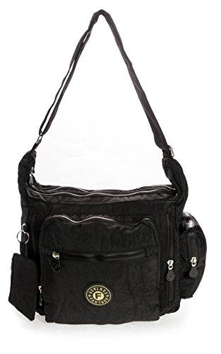 Shop Léger Tissu One Handbag En Poches Sac M Noir Noir Multiples Taille Bandoulière Big Snx5ZYTww