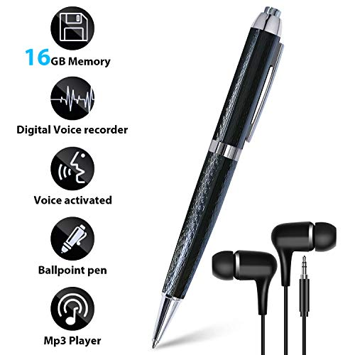 16GB Digital Voice Recorder, Anthter Voice Activated Recorder with Playback Function, Noise Reduction Audio, USB Rechargeable, Portable Mini Tape Dictaphone Perfect for Meetings Classes Interviews