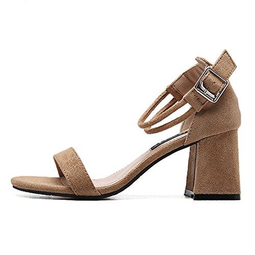 Sandalias Zapatos de Tacó Verano Correa de Tobillo Elegantes y Acogedor Sandalias de Gruesos Beige