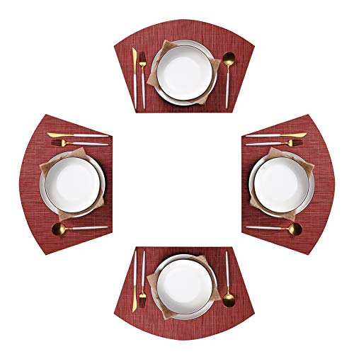 Jutao Round Table Placemats Set of 4 Wedge Washable Table mats for Kitchen Table,Round Table (Red)