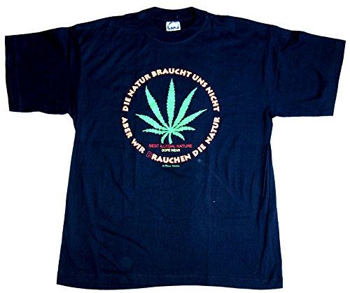 T-Shirt Pro Natur Pro Cannabis Baumwolle schwarz Siebdruck erhältlich in den Größen L und XL Original 1990er Jahre
