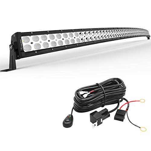 YITAMOTOR 52 Inch Curved Led Light Bar Offroad Driving Lights with Mounting Bracket and Wiring Harness Compatible for Jeep Truck SUV ATV 4X4 4WD Combo Spot Flood Beam Fog Lights Offroad Light 300W LED (52 Inch Light Bar Mounts For Dodge)