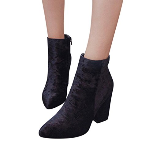 Suede Simple Ankle Bootie - Cute Retro Mod Vintage Pointed Chunky Heel - Classic Zip Up Boot -Ankle Dress Martin...