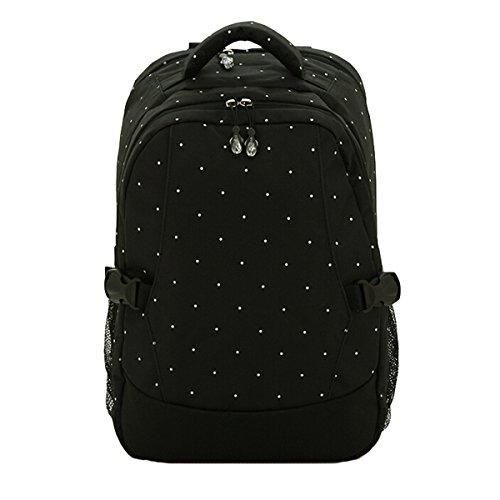 Multifunción Bolsa de gran capacidad momia bebé pañal pañales bolsa mochila bolsa de viaje azul Dark Blue & Black Black Dots