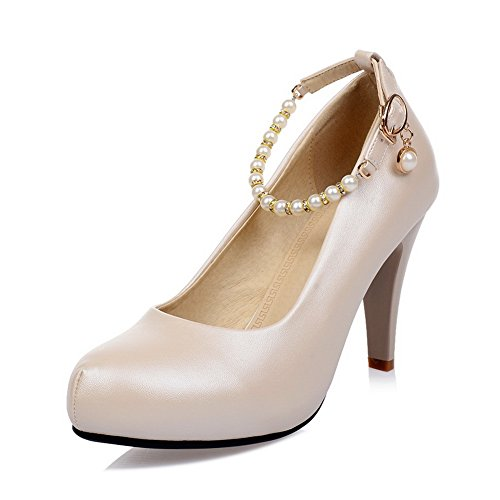 apricot BalaMasa Pumps Ladies Metal Ornament Shoes Cuff Ankle Imitated Bead Leather rrpvAF