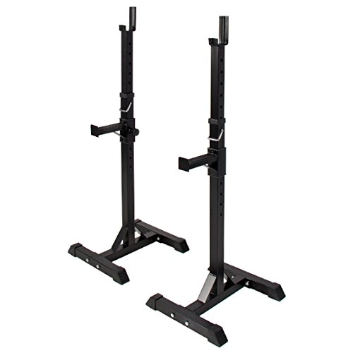 Pair of Adjustable Standard Solid Steel Squat Stands Barbell Free Bench Press by BEC