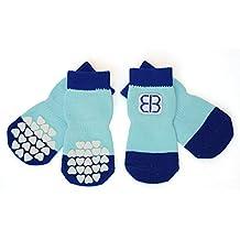 Petego Traction Control Indoor Socks for Dogs, Blue/Light Blue, Large, Set of 4