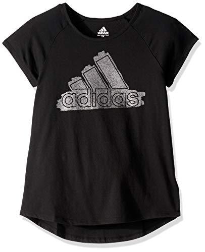 adidas Girl Big Short Sleeve Graphic Tee T-Shirt, Raglan Black, L (12/14)
