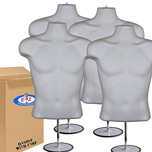 (4-Pack Male Mannequin Torso, Dress Form Hollow Back Body Tshirt Display, w/Stand for Counter by EZ-Mannequins for Craft Shows, Photos or Design, Easy to Assemble and Store, S-M Clothing Sizes, White.)