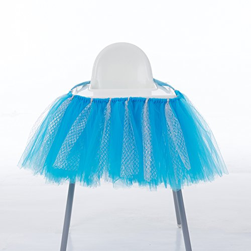 Birthday Handmade Tutu Skirt for High Chair Decoration for Party Supplies Cute (Blue & Silver) ()