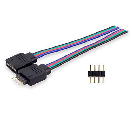 Besmelody 10-Pack SMD 5050/3528 RGB LED Light Strips Female Connector Cable(10 inch), 10pcs 4-pin Male ()
