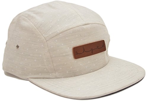 Skyed Apparel 5 Panel White Polka Dot Camper Cap Hat Collection with Genuine Leather Strap