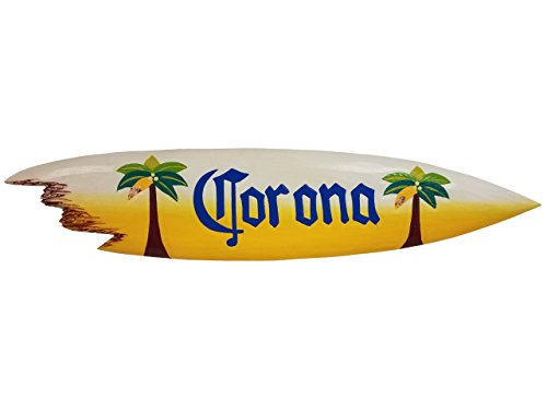 39'' Handcarved and Painted Wood ''Corona'' with Palm Trees Sharkbite Surfboard by All Seas Imports