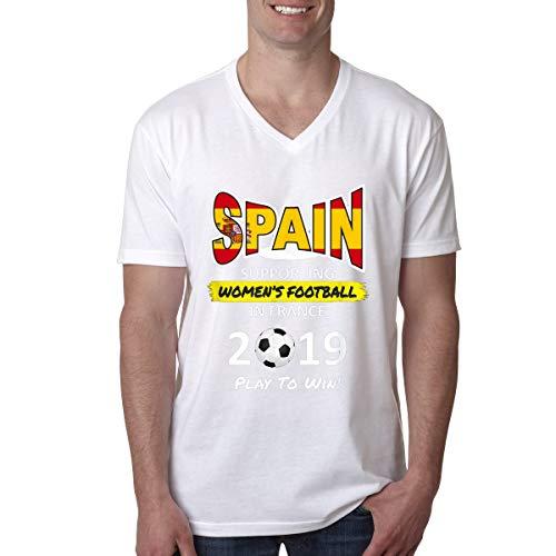 (Women Soccer Spain Team France 2019 World Tournament Men's V-Neck T-Shirt)