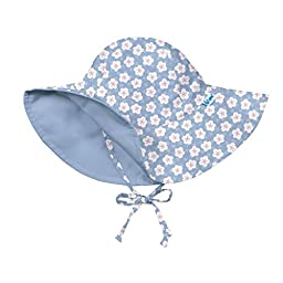 i play. Toddler Girls\' Reversible Brim Sun Protection Hat, Light Blue Blossom, 2T-4T