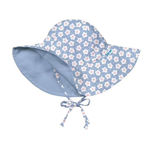 I play. Girls' Reversible Brim Sun Protection Hat, Light Blue Blossom, 0/6mo