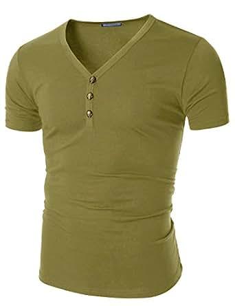 Doublju Men Stylish Button Down Half Sleeve T-Shirt, Mustard US XX-Large / Asia XXX-Large