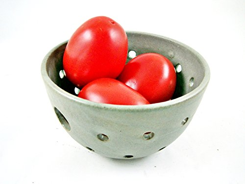 Handmade Pottery Berry Bowl Colander in Modern Simple Gray Color with Die Cut - Modern Handle Cut