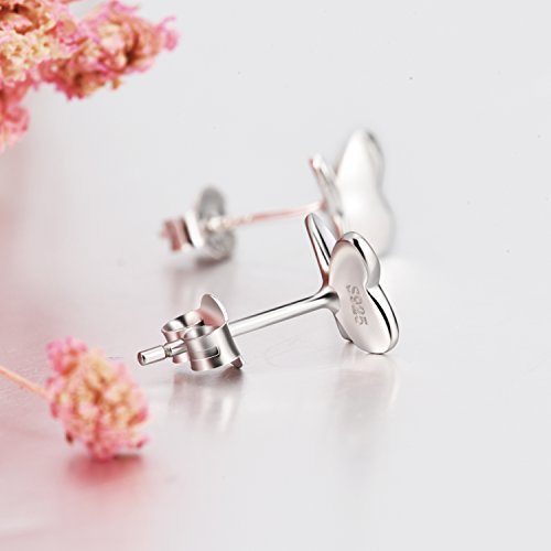 Small Butterfly Earrings Sterling Silver High Polished Cute Butterfly Jewelry for Women Girls by LUHE (Image #5)