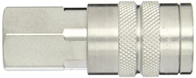 "Dixon Valve 4FF4-S Stainless Steel 303 Manual Industrial Interchange Pneumatic Fitting, Socket, 1/2"" Coupler x 1/2"" - 14 NPTF Female Thread"