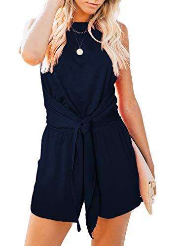 - ZESICA Women's Summer Sleeveless Halter Neck Solid Color Knot Front Short Jumpsuit Romper with Pockets Navy