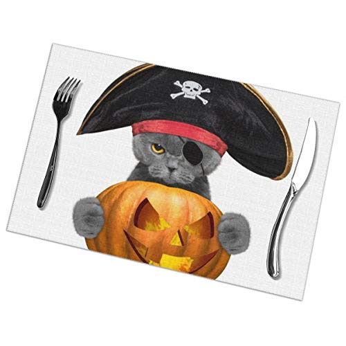 Milarz Placemats Set of 6 Printing Design Cats Halloween Pumpkin for Dining Table Washable Woven Vinyl Plate Mat Non-Slip Heat Resistant Kitchen Table Mats Easy to Clean 12x18 in -