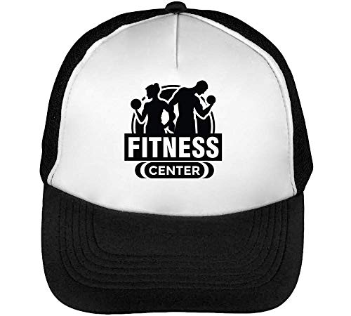 Sport Badge Fitness Center Gorras Hombre Snapback Beisbol Negro Blanco