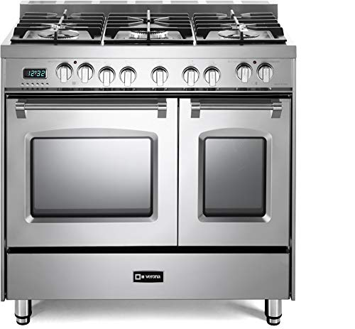 Verona Prestige Series VPFSGE365DSS 36 inch Dual Fuel Range 5 Sealed Burners Double Oven Stainless Steel