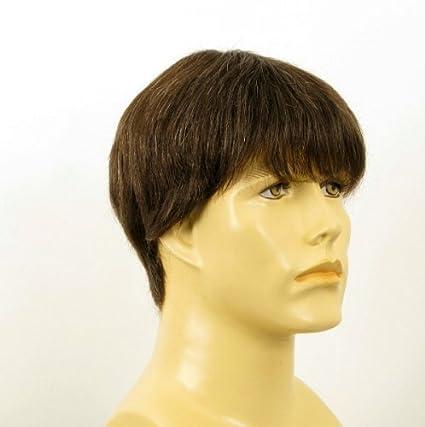 Peluca hombre cabello 100% natural marrón con pelo blanco ALAN 6SPW