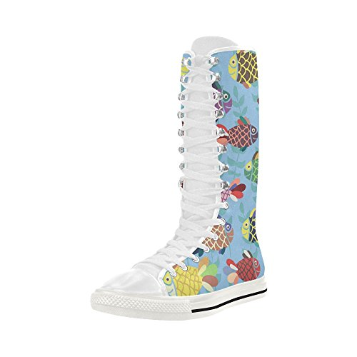 InterestPrint fish Print Lace Up Long Boots For Women I087bYs