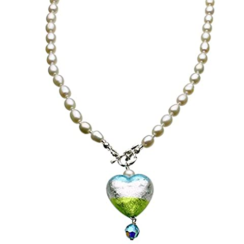 Murano-style Glass Heart Freshwater Cultured Pearl Lariat Toggle Necklace - Green Murano Glass Pendant